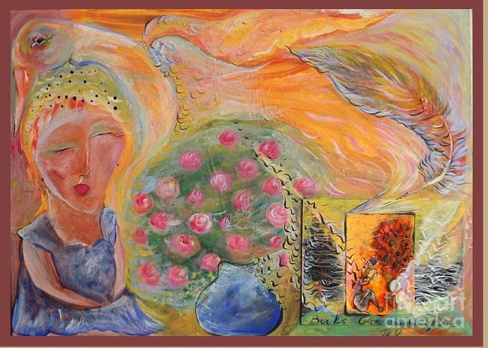 Fairy Tales Greeting Card featuring the painting Mother Goose by Michaela Kraemer