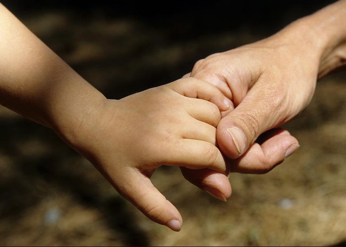 Bonding Greeting Card featuring the photograph Mother Holding Baby Daughter's Hand by Sami Sarkis