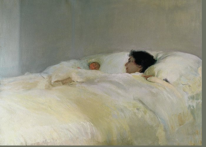 Mother Greeting Card featuring the painting Mother by Joaquin Sorolla y Bastida