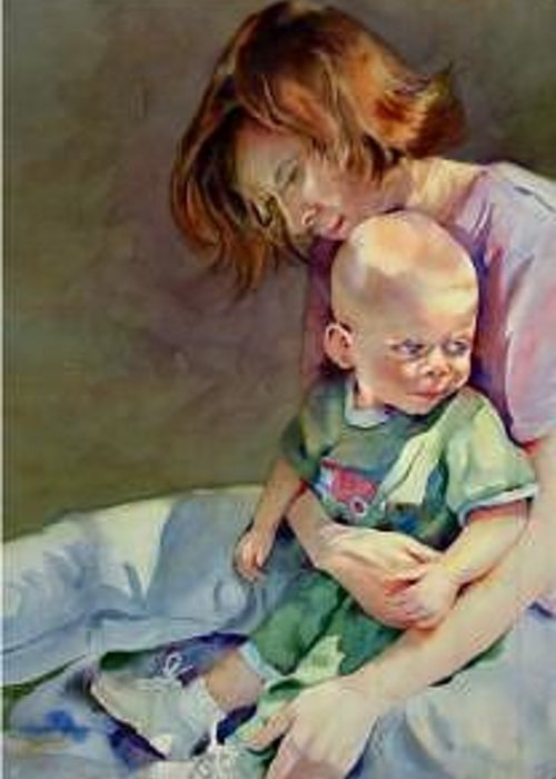 Mother And Child Greeting Card featuring the painting Mother Love by Marlene Gremillion