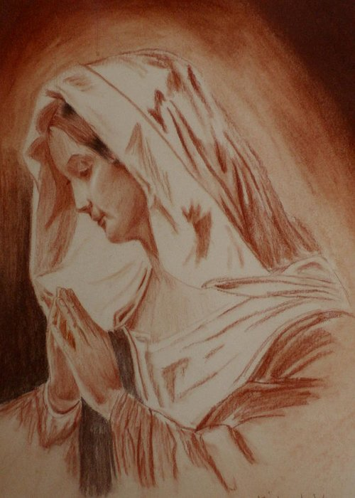 Religious Art Greeting Card featuring the pastel Mother Mary by Mike Hinojosa