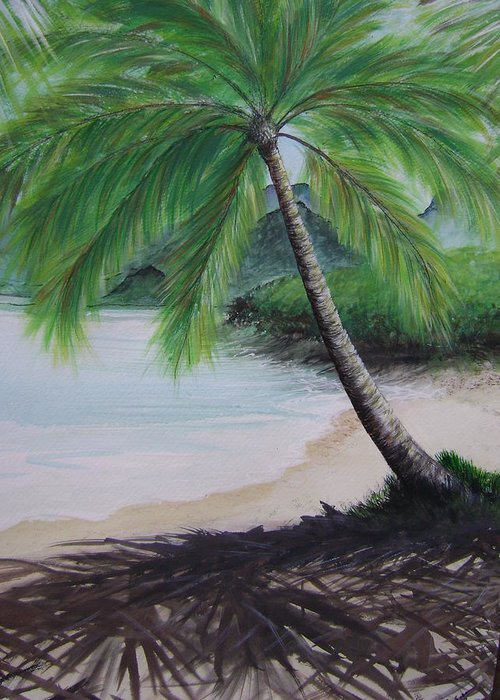 Beachscape Greeting Card featuring the painting Mother Natures Umbrella by Laura Johnson