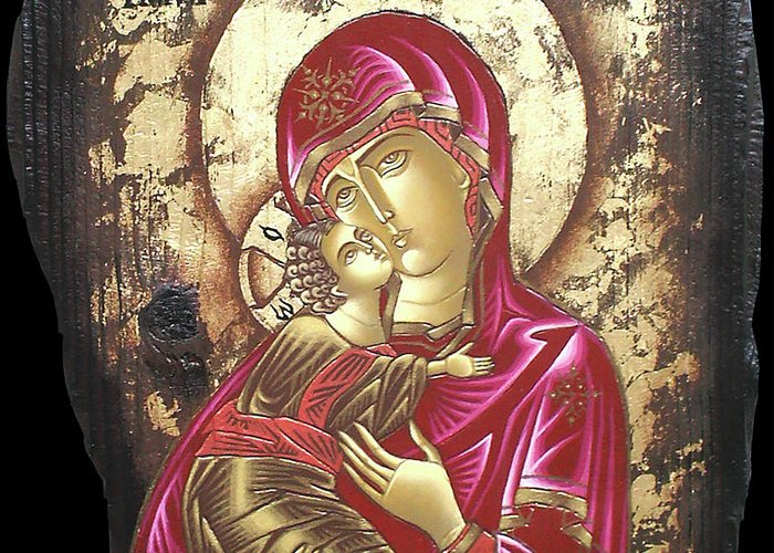 Icon Byzantine Religious Art Gold Leaf Traditional Orthodox Christian Eastern European Burn Wood Decoration Gift Greeting Card featuring the painting Mother Of God by Iosif Ioan Chezan