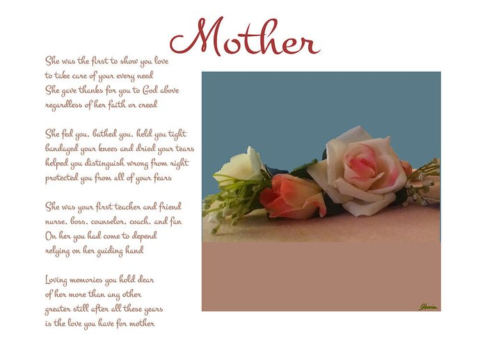 Mother Greeting Card featuring the digital art Mother by Pharris Art