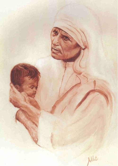 Saint Greeting Card featuring the painting Mother Teresa by Addie Coppola