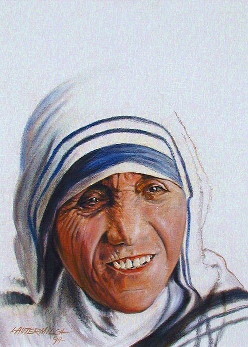Mother Teresa Greeting Card featuring the painting Mother Teresa by John Lautermilch