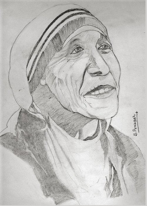 Indian Greeting Card featuring the drawing Mother Teresa by SP Singh