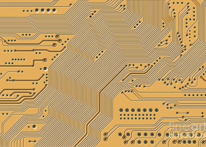Circuit Greeting Card featuring the digital art Motherboard - Printed Circuit by Michal Boubin