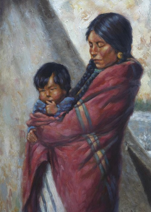 Native American Greeting Card featuring the painting Motherhood by Harvie Brown