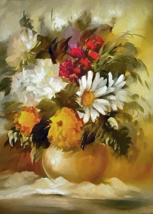 Flowers Greeting Card featuring the digital art Mother's Bouquet I by Ronald Bolokofsky