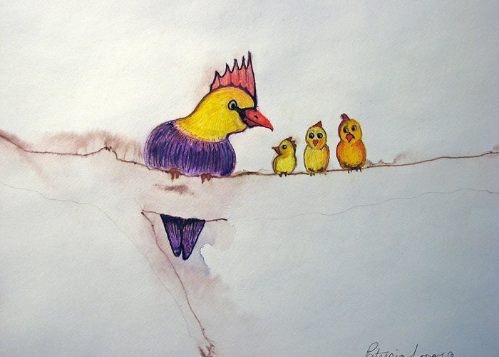 Birds Greeting Card featuring the painting Mothers Concern by Patricia Arroyo