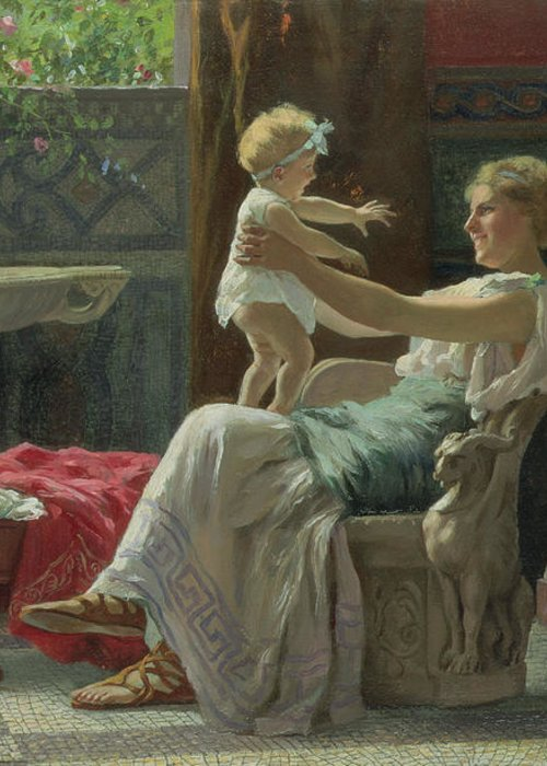 Baby; Roman; Fountain; Interior; Classicising; Classical; Antique; Scene; Mother; Child; Cradle; Maternal; Maternity; Love; Family; Smile; Laughing; Playing; Ribbon Greeting Card featuring the painting Mother's Darling by Zocchi Guglielmo