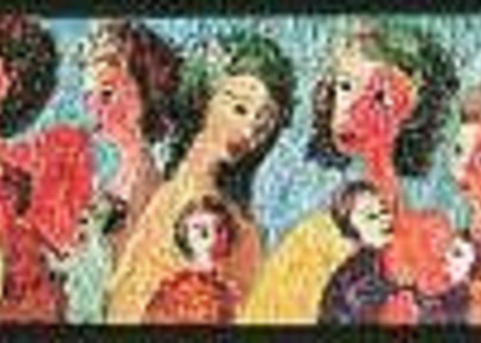 Mothers And Children Doing What Mothers Do Greeting Card featuring the painting Mothers Mothering by Naomi Gerrard