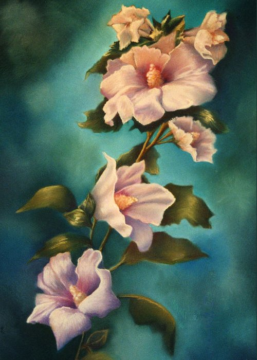 Rose Pink Althea Pastel Painting Floral Flower Greeting Card featuring the painting Mothers Rose Of Sharon by Marti Bailey