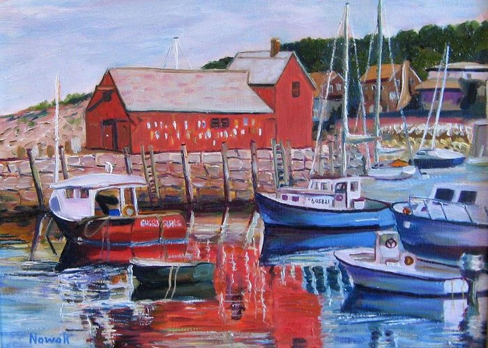Rockport Greeting Card featuring the painting Motif Number One by Richard Nowak