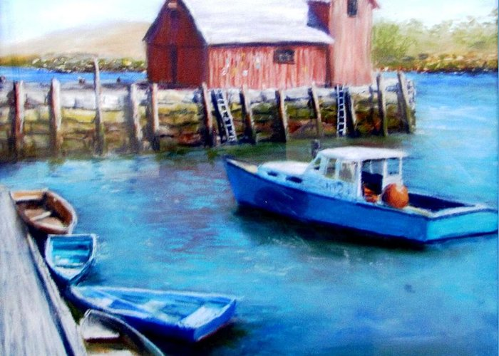 Motif One Greeting Card featuring the painting Motif One Rockport Harbor by Jack Skinner
