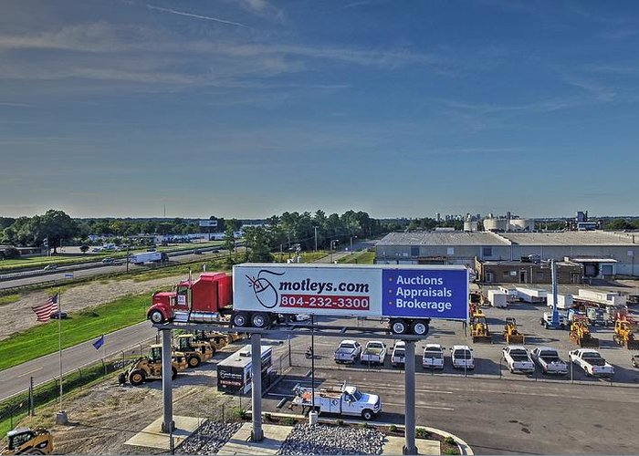 Motley Auction Greeting Card featuring the photograph Motley Auto Auction by Tredegar DroneWorks