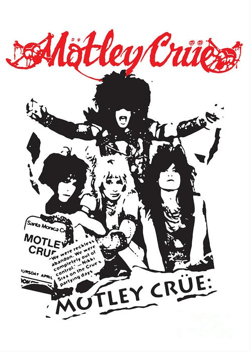 Motley Crue Greeting Card featuring the digital art Motley Crue No.01 by Caio Caldas