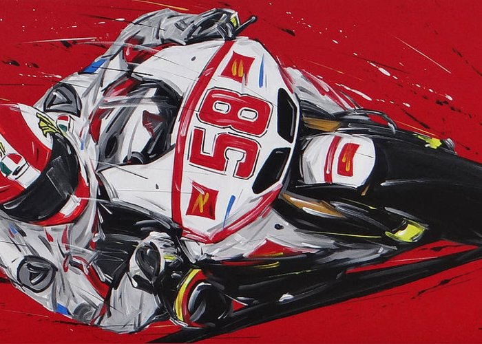 Cars Greeting Card featuring the painting Moto Gp Simoncelli Honda 58 by Roberto Muccilo