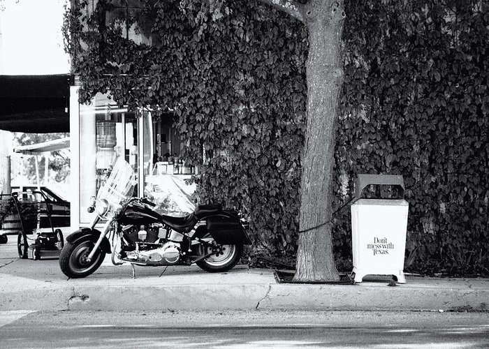 Motorcycle Greeting Card featuring the photograph Motorcycle In Big Spring Tx by Troy Montemayor