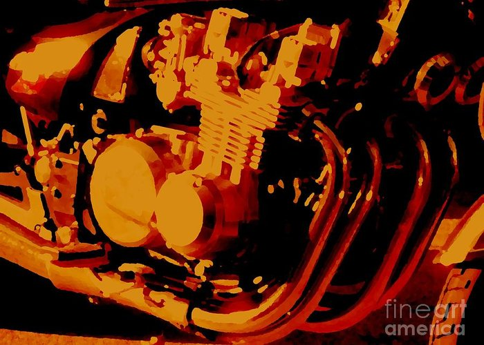Motorcycle Greeting Card featuring the digital art Motorcycle by John Bichler