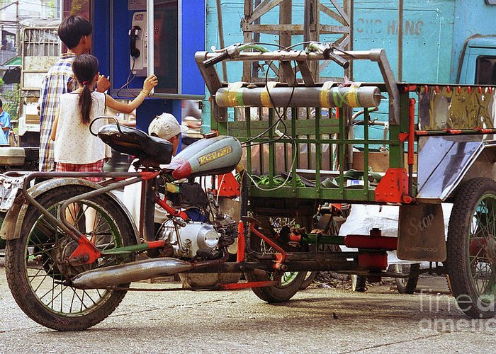 Vietnam Greeting Card featuring the photograph Vietnamese Motorized Rickshaw by Rich Walter