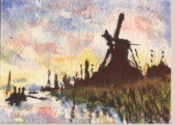 Landscape Greeting Card featuring the painting Moulin Au Soleil Couchant by Horacio Prada