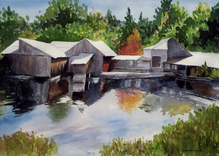 Landscape Greeting Card featuring the print Moulton's Mill by Anne Trotter Hodge