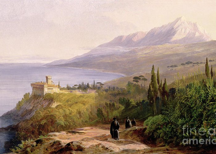 Mount Athos And The Monastery Stavroniketes Greeting Card featuring the painting Mount Athos And The Monastery Of Stavroniketes by Edward Lear