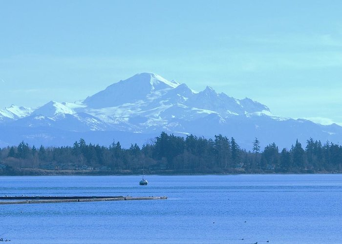 Greeting Card featuring the photograph Mount Baker From The Spit by James Johnstone
