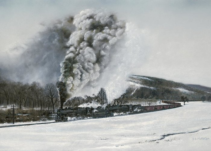 Trains Greeting Card featuring the painting Mount Carmel Eruption by David Mittner