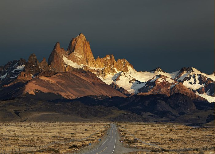 America Greeting Card featuring the photograph Mount Fitz Roy At Sunrise, Patagonia, Argentina by Dmitry Pichugin