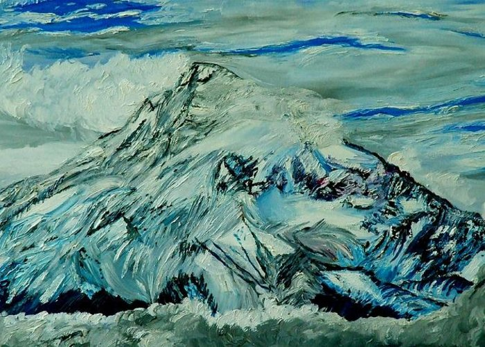 Mountain Greeting Card featuring the painting Mount Hood by Gregory Allen Page