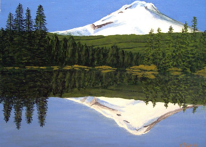 Landscape Paintings Greeting Card featuring the painting Mount Hood-trillium Lake by Frederic Kohli
