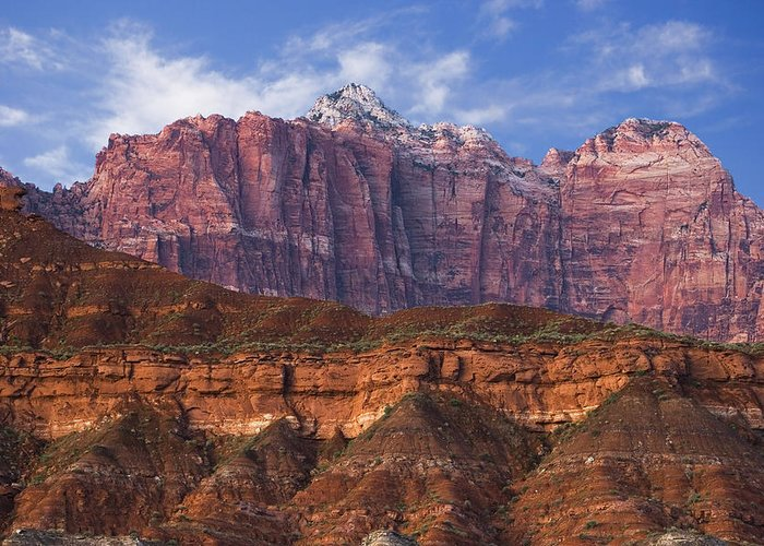 Zion National Park Greeting Card featuring the photograph Mount Kinesava In Zion National Park by Utah Images