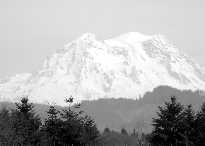 Digital Photography Greeting Card featuring the photograph Mount Rainier Black And White by Laurie Kidd