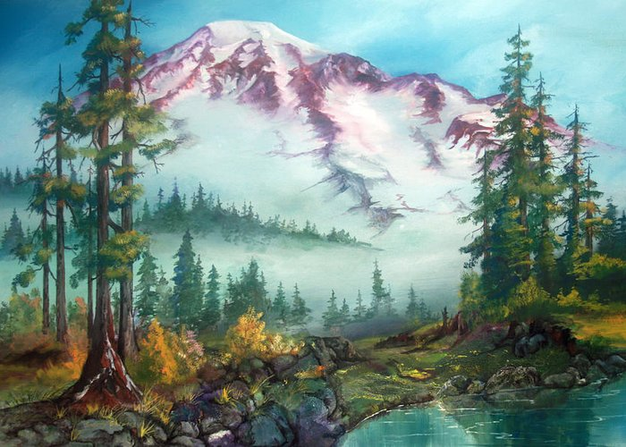 Mountains Greeting Card featuring the painting Mount Rainier by Sherry Shipley