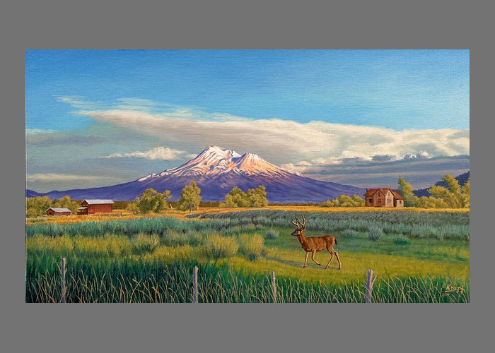 Mountain Peak. Northern California Greeting Card featuring the painting Mount Shasta by Paul Krapf