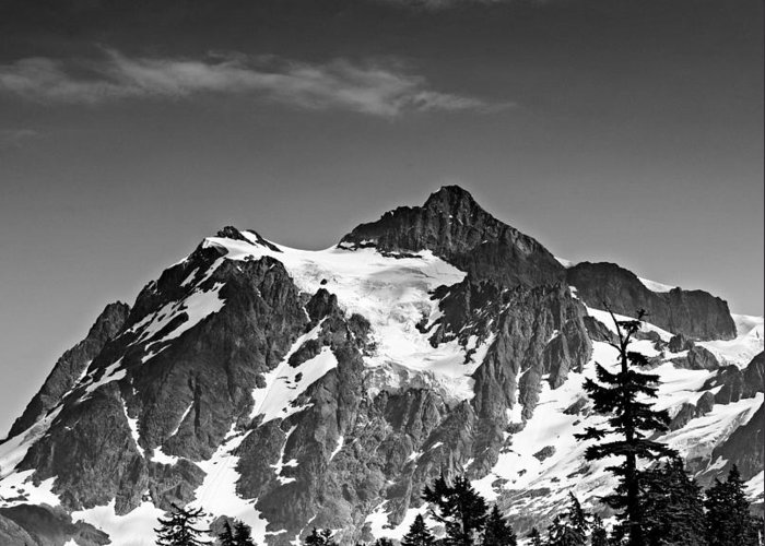 Cascades Greeting Card featuring the photograph Mount Shuksan Black And White Cascade Mountains Washington by Brendan Reals