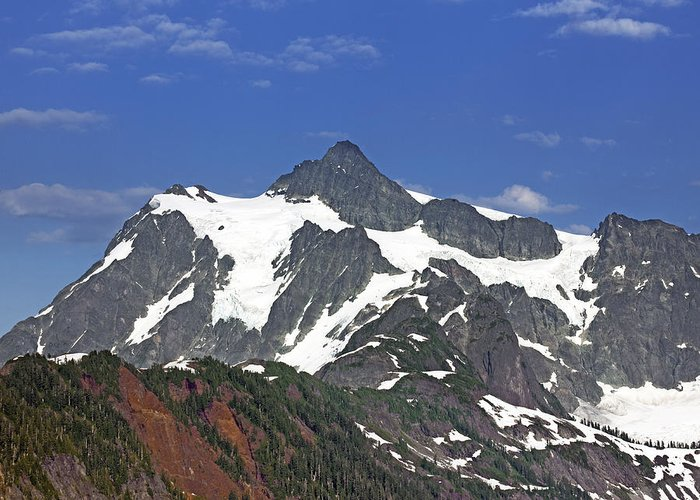 Shuksan Greeting Card featuring the photograph Mount Shuksan In The Cascade Mountains by Brendan Reals