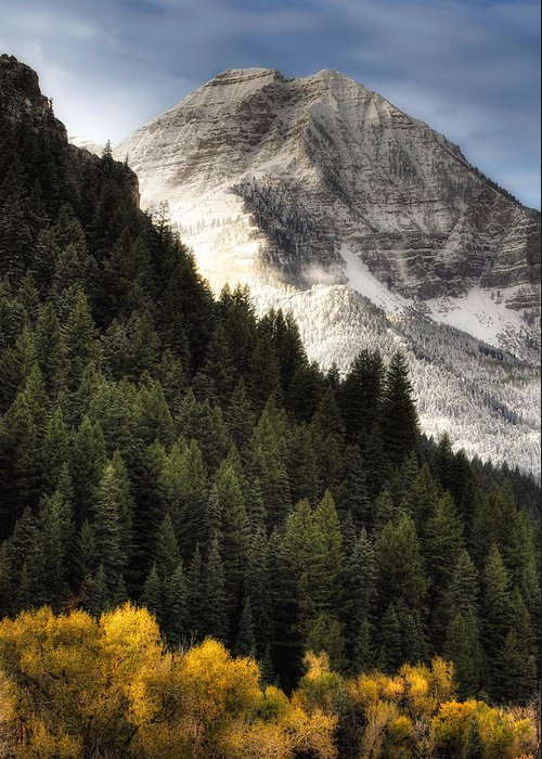 Mountain; Peak; Peaks; Mount Timpanogos Wilderness; Wasatch Mountains; Mt; Mts; Autumn; Fall; Winter Greeting Card featuring the photograph Mount Timpanogos 1 by Douglas Pulsipher