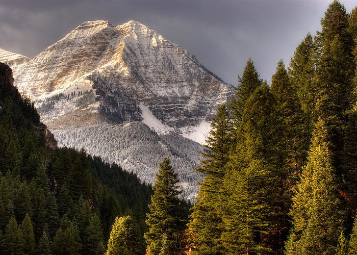Mountain; Peak; Peaks; Mount Timpanogos Wilderness; Wasatch Mountains; Mt; Mts; Autumn; Fall; Winter Greeting Card featuring the photograph Mount Timpanogos 3 by Douglas Pulsipher