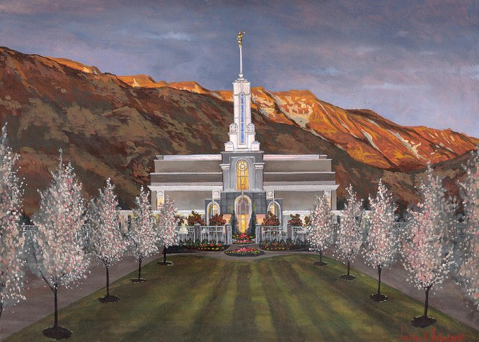 Temple Greeting Card featuring the painting Mount Timpanogos Temple by Jeff Brimley