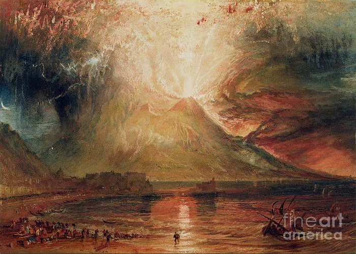 Mount Greeting Card featuring the painting Mount Vesuvius In Eruption by Joseph Mallord William Turner