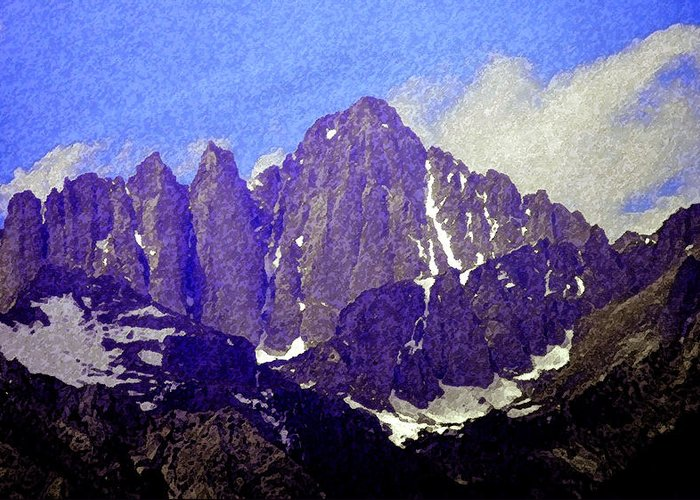 Art Greeting Card featuring the painting Mount Whitney by David Lee Thompson
