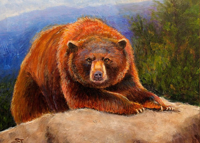 Wildlife Greeting Card featuring the painting Mountain Bear by Susan Jenkins