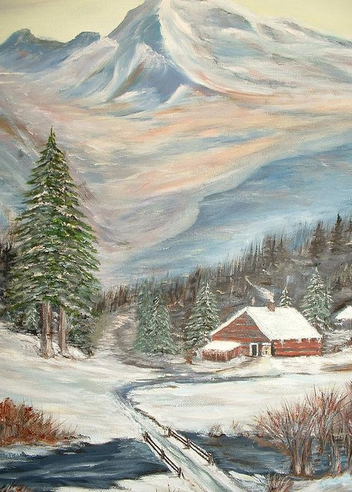 Landscape Mountains Cabin River Trees Greeting Card featuring the painting Mountain Cabin by Kenneth LePoidevin