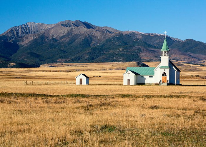 Church Greeting Card featuring the photograph Mountain Chapel by Todd Klassy