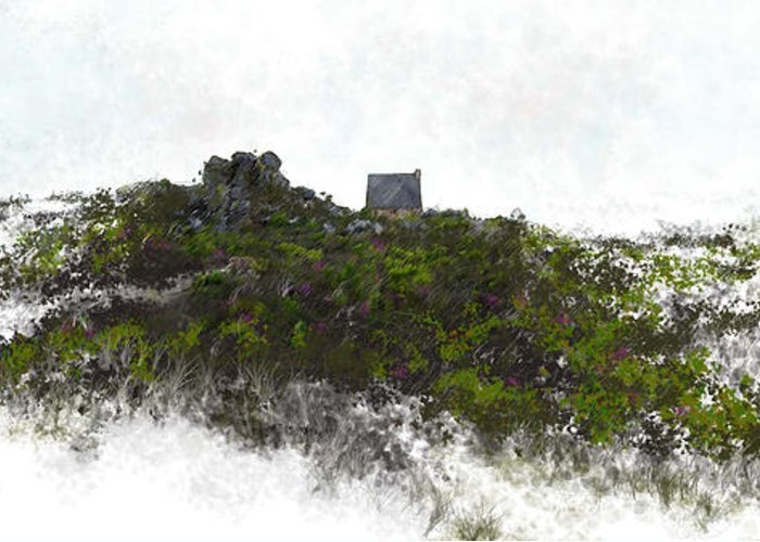 Landscape Greeting Card featuring the painting Mountain Cottage In Fynbos by Ronald Rosenberg