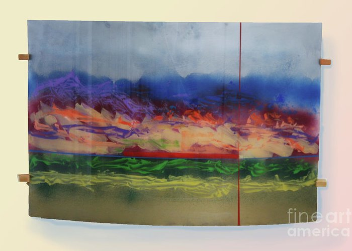 Landscape Greeting Card featuring the painting Mountain Crossing by Mordecai Colodner